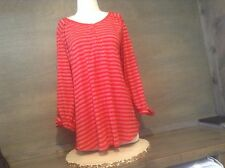 AVENUE WOMENS RED AND SPARKLING STRIPED TEE TOP BLOUSE SIZE 18/20 PLUS 3/4 SLV