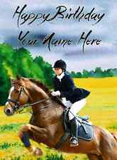 Equestrian horse riding Happy Birthday A5 Personalised Greeting Card pid272