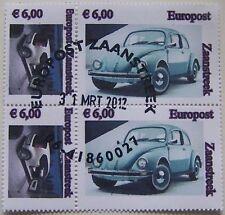 Stadspost Zaanstad 2012 - 2 x 2 zegels VW Kever en VW Up gestempeld (1)