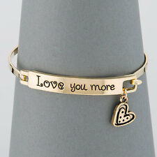 Simple Gold Love You More Message Heart Charm Bangle Bracelet