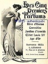 PUBLICITE PARFUM L LEGRAND ORIZA REVE D'OSSIAN JARDINS D'ARMIDE DE 1910 AD PUB
