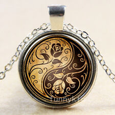 Vintage ying yang rose Cabochon Silver plated Glass Chain Pendant Necklace l9
