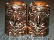 1950's copper totem pole salt and pepper shakers