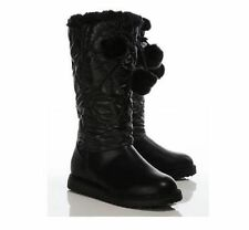 2 in 1 Quilted Nylon Faux Fold Down Faux Fur Leather Effect Black Boots Size 7