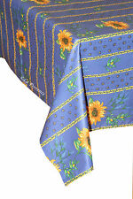 """60"""" x 96"""" Rectangular COATED Provence Tablecloth - Sunflower & Lavender Blue"""