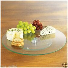 "New Tempered Glass Rotating Lazy Susan Turntable Serving Plate Platter 10"" Round"