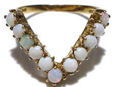 ANTIQUE ENGLISH 375 9K GOLD 11 CABOCHON OPAL WOMENS ESTATE RING BAND SIZE 8.5