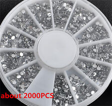 2000PCS 1.5mm Rhinestones Glitter Diamond 3D Tips Decoration Nail Art Wheel