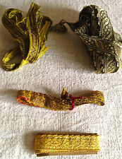 Antique Metallic Trims Golden Ecclesiastical Braids 4pc Upholstery Furnishings