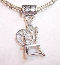 Spinning Wheel Retro Sewing Dangle Bead for Silver European Style Charm Bracelet