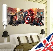 3D Wall Avengers Marvel Hulk Iron Man Thor Captain Vinyl Sticker Boys Room