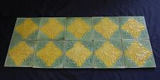 10 DECORATIVE VICTORIAN TILES GREEN YELLOW SUITABLE FOR FIRE SURROUND REF 392
