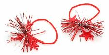 Zest 2 Christmas Tinsel & Star Hair Bobbles Bands Red & Silver