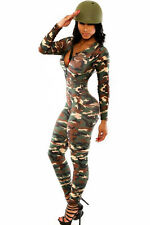 New military army camouflage jumpsuit catsuit club wear size L UK 12