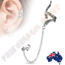 Snake Design Ear Cuff with Chain Linked CZ Ear Stud