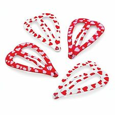 Four Piece Red & White Tone Heart Shaped Snap Clips Hair Slides Sleepies Set 4cm