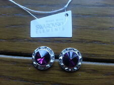 Genuine Swarovski Elements 13mm Amethyst Crystal Stud Earrings