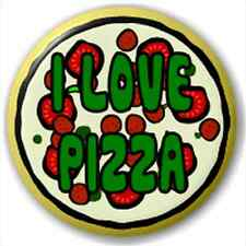 Small 25mm Lapel Pin Button Badge Novelty I Love Pizza