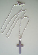 Tibetan Silver Plain Cross Pendant Fine Silver Plated Chain Necklace - Gift Bag