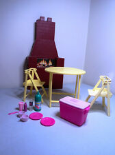 Barbie Doll house furniture BARBECUE PICNIC SET Folding table & chairs plates
