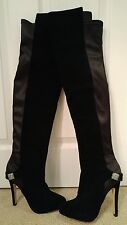 New Bourne England Black Suede Leather Satin Over Knee Boots w Crystal Buckle- 5