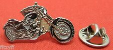 Motorbike Black & Silver Chopper Biker Lapel Hat Cap Tie Pin Badge Brooch