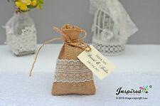 Bespoke Wedding Hessian Favor Bags Burlap Lace Twine Party Gift Thank You Tags