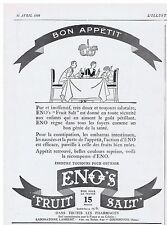 PUBLICITE ADVERTISING 044 1928 ENOS constipation embarras intestinaux médicament