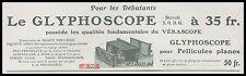 Publicité LE GLYPHOSCOPE   appareil photo vintage ad  1913 -3j
