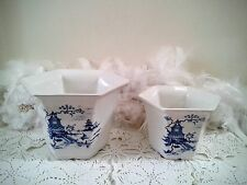 Royal Winton white planter pots Blue Willow pattern, Fine ceramic ware, England
