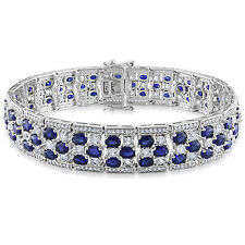 Sterling Silver 26 1/5 Ct TGW Blue and White Sapphire Tennis Bracelet 7.25""