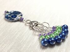 Snag Free Knitting Stitch Markers And Flower Clip Holder- Jeweltone Pearls