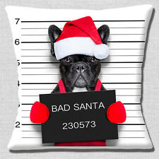 "NEW FUNNY BLACK FRENCH BULLDOG BAD SANTA PHOTO PRINT 16"" Pillow Cushion Cover"