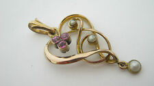 Antique Victorian Rolled Gold Heart Style Lavaliere Pendant