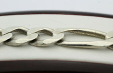 """Sterling Silver .925 Classic Elongated Figaro Chain Link 8"""" Bracelet 27.3g Z90"""