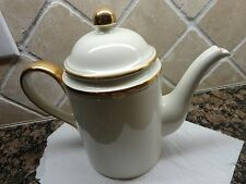 FITZ & FLOYD PALAIS OFF WHITE WITH GOLD TRIM TEA / COFFEE POT