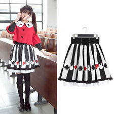 Poker Rabbit Stripe Print Skirt Lace Up High Waist A-line Skirt Japanese Lolita