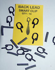 Back Lead Smart Clips - Pack of 10 Clips with Rubbers - Carp Coarse Fishing