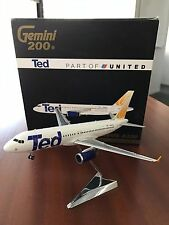 "GeminiJets 1:200 1/200 United Airlines ""Ted"" livery Airbus A320 model"
