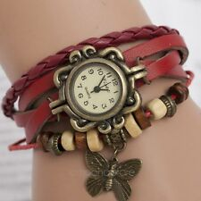 Fashion Retro Pendant Leather Weave Ladies Bracelet Butterfly Quartz Wrist Watch