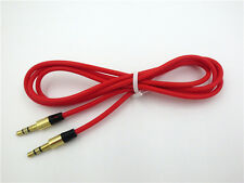 "Red 3.5mm 1/8"" Audio AUX Cable Cord For Skullcandy PLYR 1 2 Wireless Headphone"
