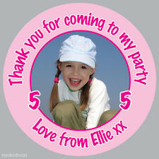 35 x Personalised Girls Birthday Party Bag Photo Stickers Cute Picture - 151