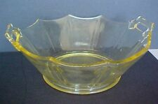 YELLOW DEPRESSION GLASS BOWL- 10 SIDE SHAPED HANDLED