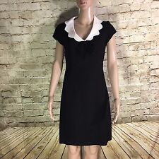 *FLAW* Moschino Cheap Chic Black Cream Peter Pan Collar Bow Fitted Dress SZ 6