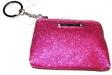 Victoria's Secret Hot Pink Sparkle Glitter Coin Purse Keychain Mini Wallet NWT