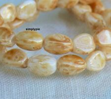 Luster Cream Beige Picasso Pinched Czech Glass Beads 8mm 25 New Arrivals