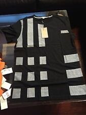 New Burberry Plaid Nova Check Line Square Black Men T-shirt XXL XL L M $225