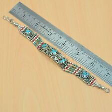 925 TIBETAN SILVER VINTAGE NATURAL TURQUOISE,RED CORAL BRACELET JEWELRY V04747