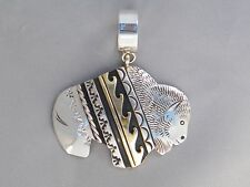 Rosita & Tommy Singer Navajo Indian Sterling Gold Buffalo Wave Pattern Pendant