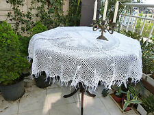 Vintage retro shabby chic hand-crocheted round cotton lace doily / tablecloth